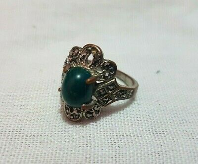 Medieval Rare Ancient ROMAN Bronze RING with a green stone ARTIFACT Magnificent