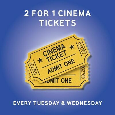 2 for 1 Cinema Ticket Code WEDNESDAY 21st Meerkat Movies FAST DELIVERY