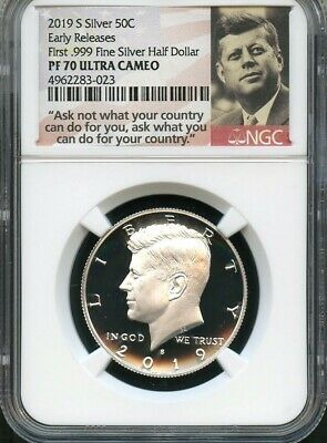 2019 S First .999 Fine Silver Kennedy Half Dollar E.R. NGC PF70 Ultra Cameo P