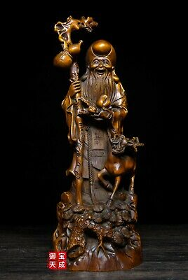 Old China Boxwood wood Carved Lucky deer longevity Shou star immortal God Statue