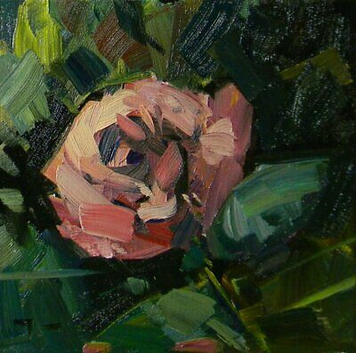 JOSE TRUJILLO Oil Painting IMPRESSIONISM PINK FLOWER ROSE EXPRESSIONISM DECOR