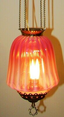 Antique Pull Down Hanging Hall Electrified Oil Lamp Chandelier Pink Opalescent