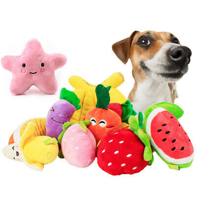 Funny Pet Puppy Cat Dog Fruit Plush Toy Chew Squeaker Squeaky Play Sound Toys