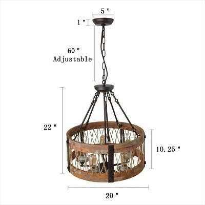 Wooden Chandelier Hemp Rope Pendant Lighting Retro Rustic Antique Ceiling Lamp