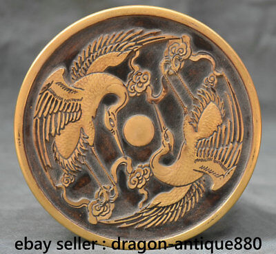 """5.6"""" Rare Marked Old Chinese Red Copper Gold Dynasty Palace 2 Crane Food Box"""