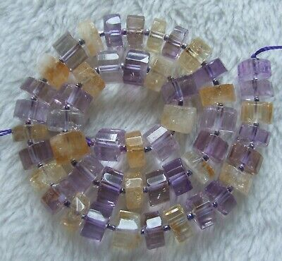 6x11mm Natural Citrine And Ametrine Faceted Rondelle Loose Beads 15.5Inch