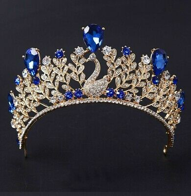 Stunning Rose Gold Vintage Blue Crystal Tiara, Brand New, 7cm high
