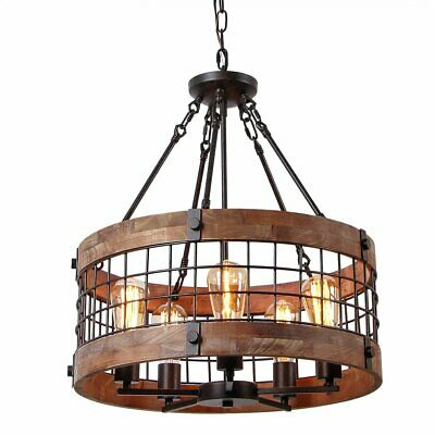 Round Wooden Chandelier Metal Pendant Lighting Retro Rustic Antique Ceiling Lamp