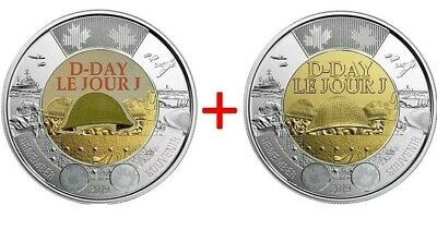 2019 CANADA 🇨🇦 75th D-DAY COLOUR & NO COLOUR $2 DOLLAR TOONIES COINS -- NEW