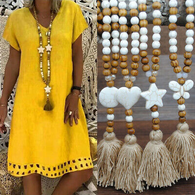 Fashion Women Necklace Maxi Natural Star Heart Stone Wood Beads Pendants Tassel