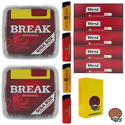 2x Break Volumentabak Giga Box 300 g + 1000 West Hülsen + Feuerzeuge