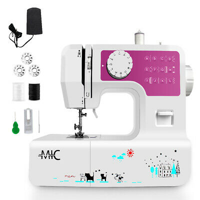 Sewing Machine 12 Stitches Functions LED Lamp Thread Cutter 2 Speeds