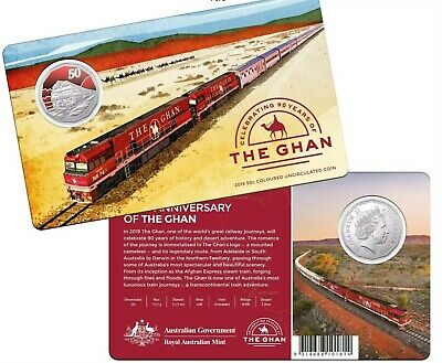 Free Post - Australia 2019 50 Cents Ghan Train Coloured Circulated Coin