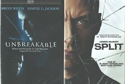 M NIGHT SHAYAMALAN: Unbreakable+Split- Double Feature- Glass Prequels- NEW 2 DVD