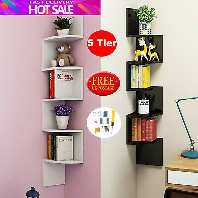 5 Tier Corner Shelf Floating Wall Shelves Storage Display Books Home Decor U2