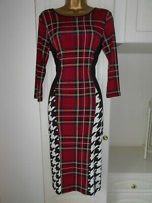 """River island size uk 12 mainly plaid print with monochrome sides bust 36"""""""