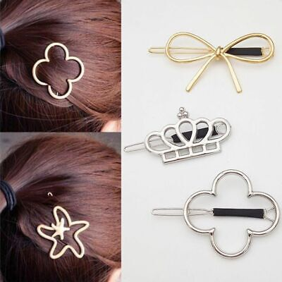 Women Vintage  Metal Crown Bowknot Four-leaf Grass Flower Star  Hair Jewelry