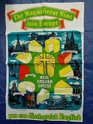 Vintage ENGLISH CHEESE join EUROPE Linen Tea Towel 1973 ADVERTISING