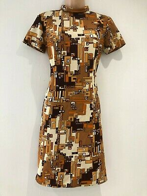 Vintage 1960's Mod Brown Rusty Orange Cream Geometric Print Shift Dress 12-14