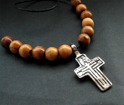 POST MEDIEVAL BRONZE CROSS PENDANT + olivewood beads from Bethleham - wearable
