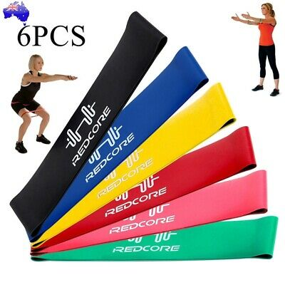 6PCS Resistance Bands Strength Arms Legs Exercise Fitness Gym Crossfit Yoga AU