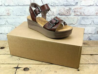 Womens Blowfish Natural Leeds Brown Leather Look Platform Summer Sandals Size 6
