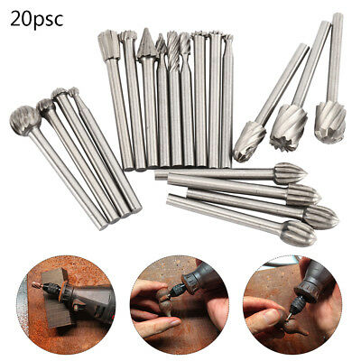 20pc HSS Carbide Burr Set Rotary Drill Bits Die Grinder Carving Engraving Dremel