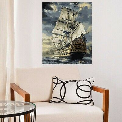 AU Wood Framed DIY Paint By Number Kit Cool Sailing Boat 50 X 40CM Home