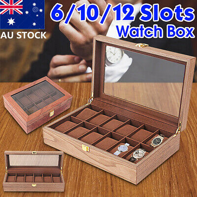6/10/12 Slots Vintage Wooden Watch Box Display Organizer Jewelry Storage Hot