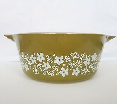 Vintage PYREX Oven Dish bowl green Crazy Daisy Casserole USA Ovenware Large