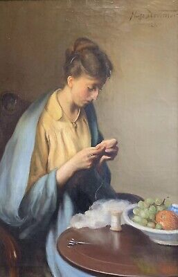 HUGE 1920s AMERICAN SIGNED OIL - IMPRESSIONIST PORTRAIT LADY SEWING AT TABLE