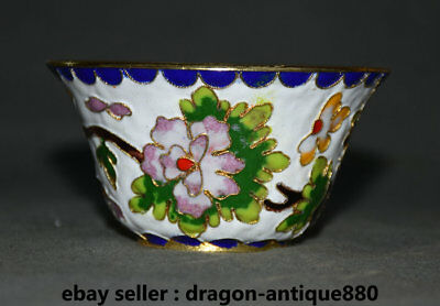 """4"""" Old Chinese cloisonne Filigree Dynasty Flower Butterfly Vessel Pot Cup Bowl"""