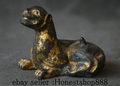 """3"""" Collected Rare Old Chinese Bronze Gilt Feng Shui Pixiu Unicorn Beast Statue"""