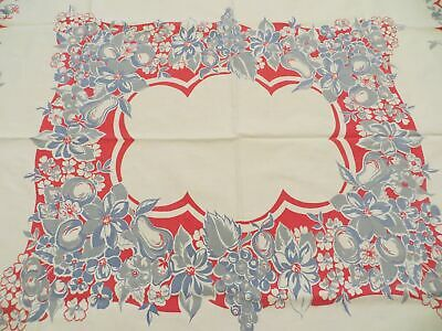 Cute Vintage Printed Cotton Tablecloth Fruit & Flowers on Red and Blue Border