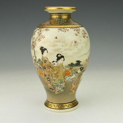 Antique Japanese Satsuma Pottery - Hand Painted & Gilded Figures Vase