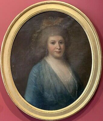 18th CENTURY FRENCH OVAL LARGE OIL PAINTING - PORTRAIT OF ARISTOCRATIC LADY