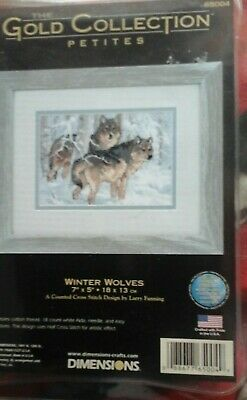 Dimensions Gold Cross stitch kit petite Winter Wolves 65004 OOP