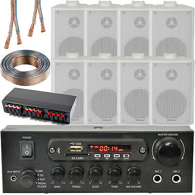Bluetooth Wall Speaker Kit – 4 Zone Stereo Amp & 8x White Wall Background Music