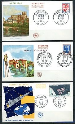 FRANCE 1966 SELECTION OF 6 FDCs WITH SPECIAL HANDSTAMPS
