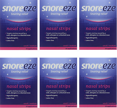 6x Snoreeze Snoring Relief Nasal Strips Small/Medium (10 pack)