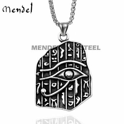 MENDEL Vintage Egyptian Eye of Horus Ra Pendant Necklace Stainless Steel Jewelry