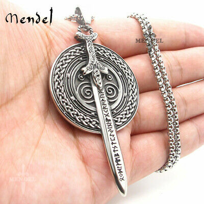 MENDEL Stainless Steel Mens Norse Viking Amulet Sword Shield Pendant Necklace