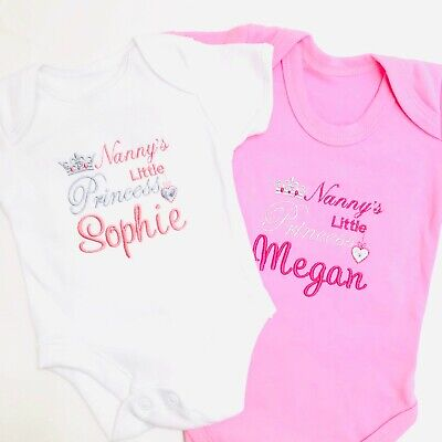 Nanny's Personalised Little Prince / Princess Name Baby Vest Gift Girl Boy