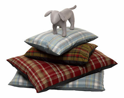 Tartan Dog Pillow Mattress Wool Effect Bed with Nylon Base Puppy Cushion Bed