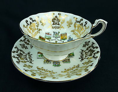 Paragon Coats Of Arms Canada Emblems Cup and Saucer Set Fine Bone China England