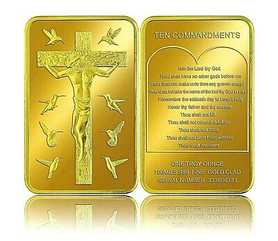 Jesus 10 Commandments Gold Bar Cross Church CHRISTIANITY Spirituality Catholic