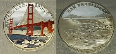 Golden Gate Bridge Gold Coin San Francisco Alcatraz Prison Americana Bay Medal