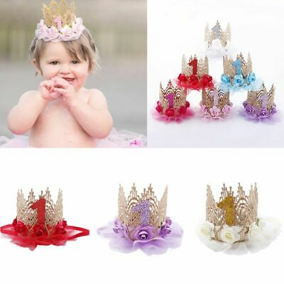 Party Decoration Baby Birthday Hat Crown Hair Band Flower Headwear 1 Years Old