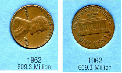 1962 P ABE Lincoln Memorial AMERICAN PENNY 1 CENT US U.S AMERICA ONE COIN #B2