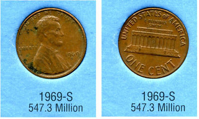 1969 S ABE Lincoln Memorial AMERICAN PENNY 1 CENT US U.S AMERICA ONE COIN #B2